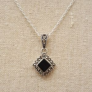 Jewelry - Sterling Silver Black Onyx Marcasite Necklace